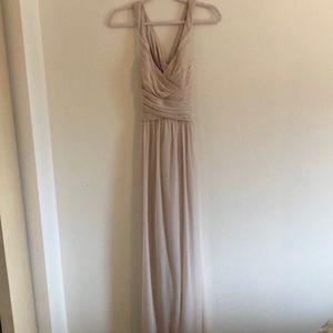 Champagne colored bridesmaid dress!
